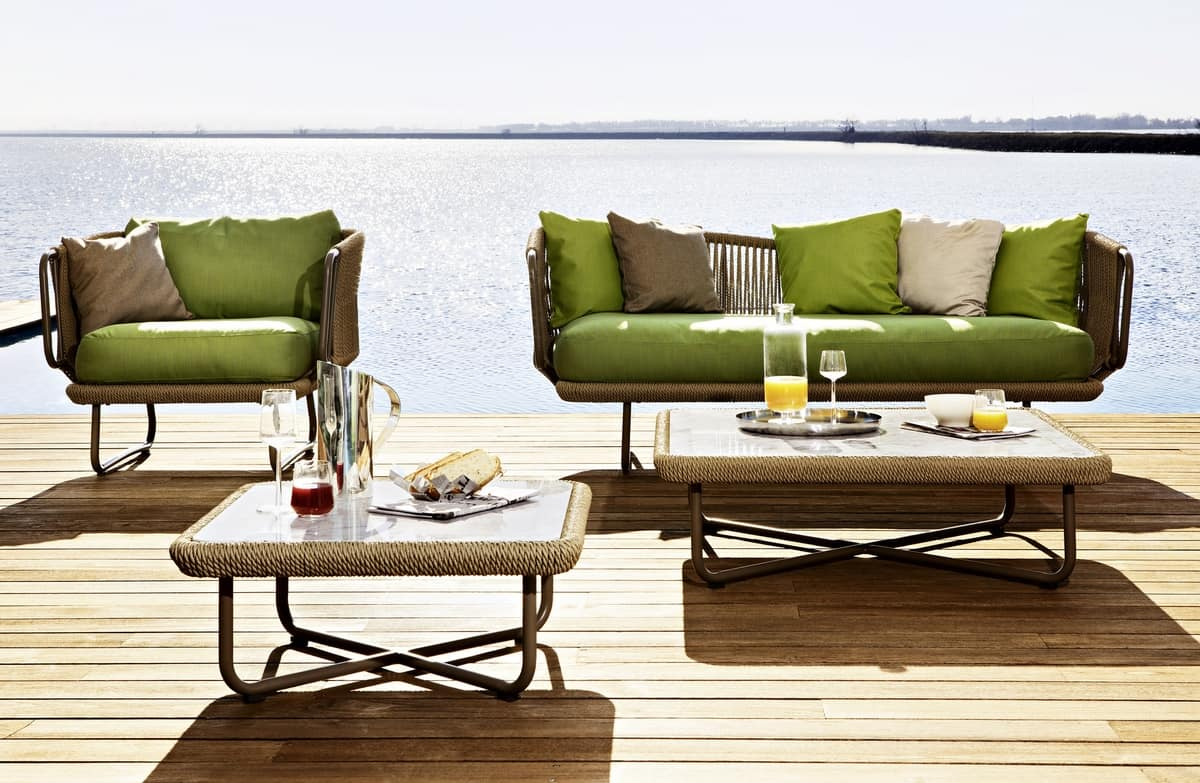 Babylon coffee table, Coffee table with aluminum frame and rope,  for outdoors
