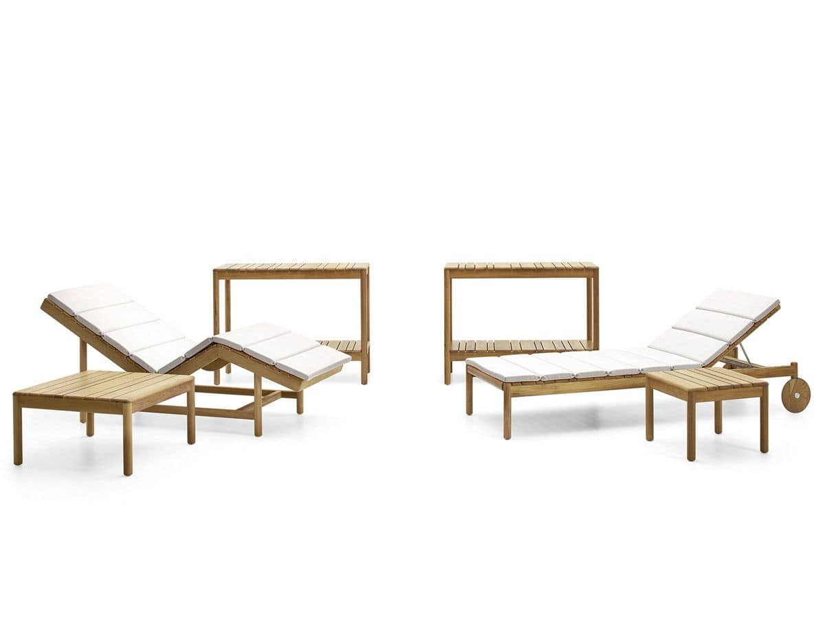 Barcode coffe table, Coffee tables in teak wood, for swimming pools and spas