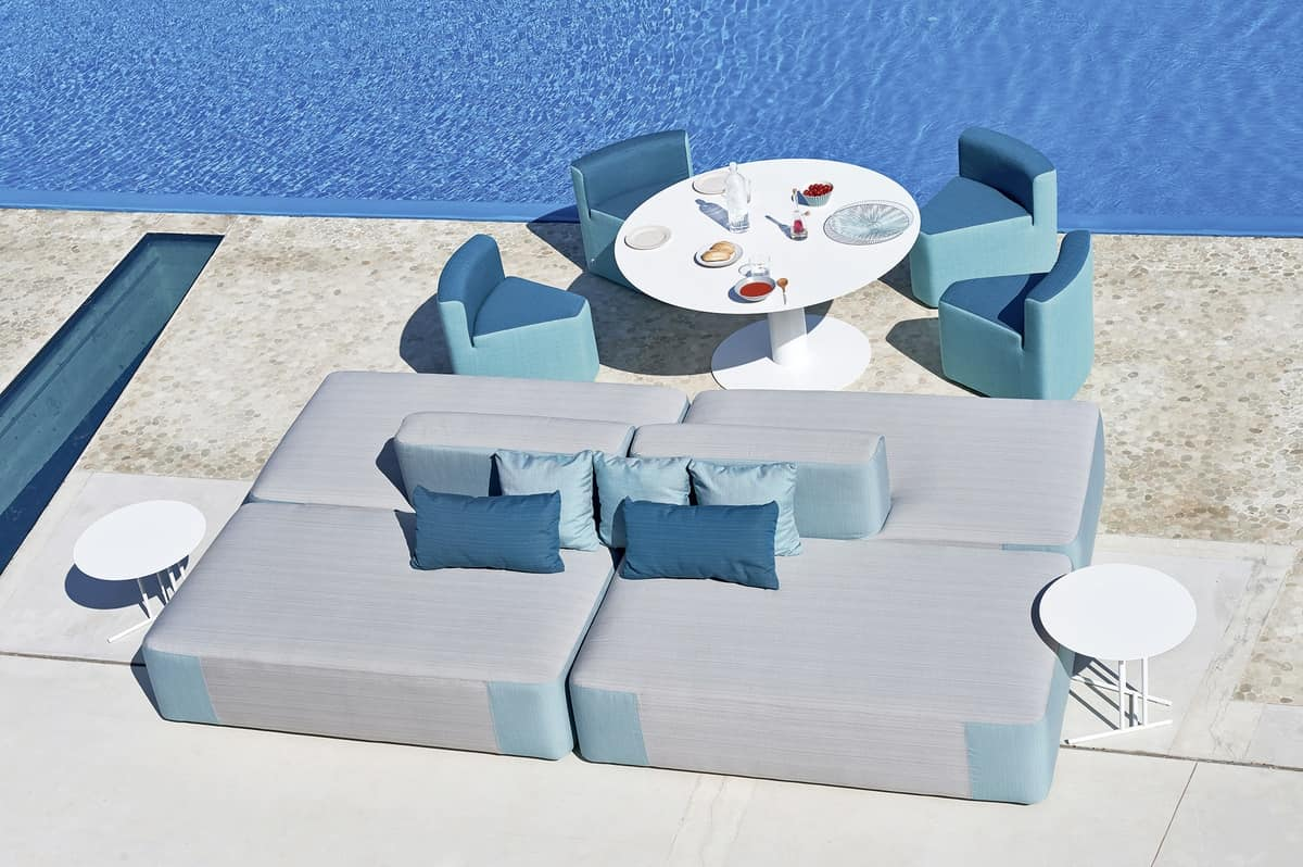 Big low table, Round coffee table made of steel, for villas with pools