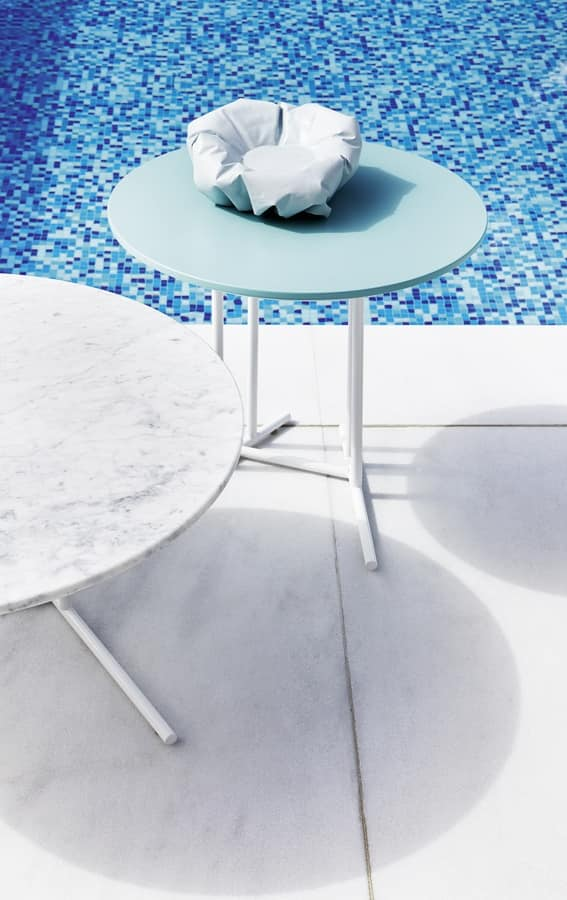 Belt coffee table 2, Round small table, with painted steel base, for outdoors