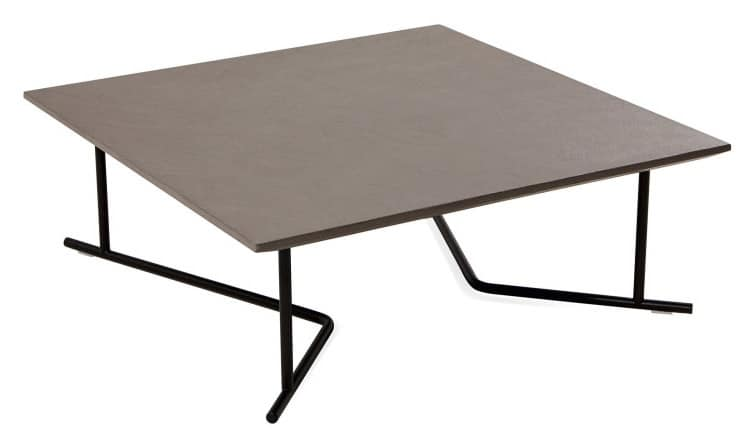 Belt side table 1, Low square coffee table, metal base, for outdoor