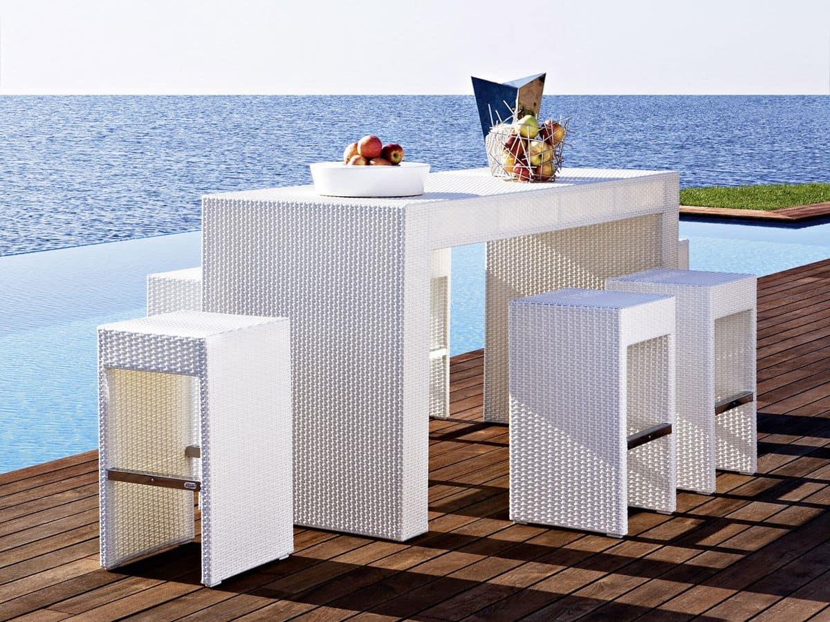 Cora bar table, Outdoor tall table, woven, for garden and beach