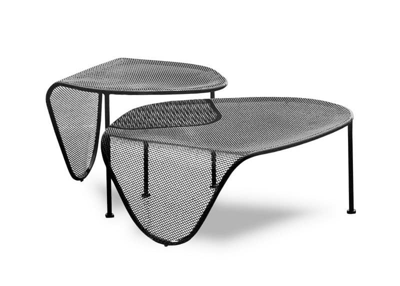 Elitre uno due, Tables in metal tube, top with moiré pattern, also for outdoor use
