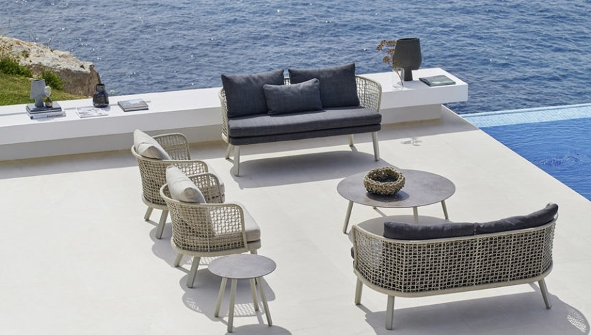Emma tavolino, Outdoor coffee table with ceramic top