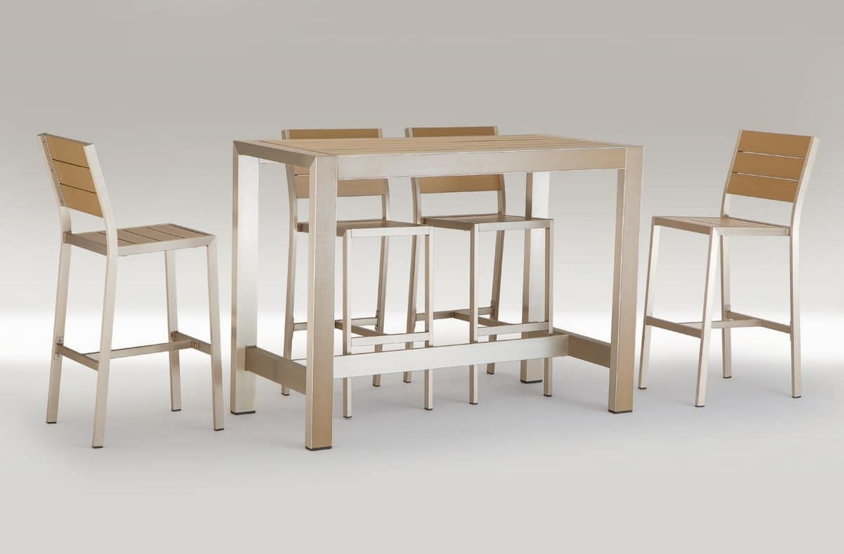 FT 709, High table in aluminum and wood, for outdoor bar