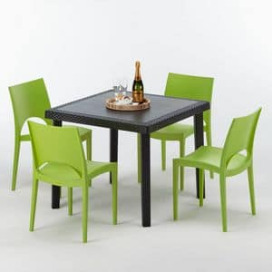 outdoor furniture table and chairs rattan garden - S7090SETA4, Rattan square table, for outdoor bar