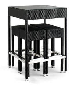 Set 2010, Braided aluminum table, with glass top