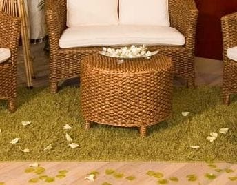 Small table Hamilton, Round coffee table in natural hyacinth