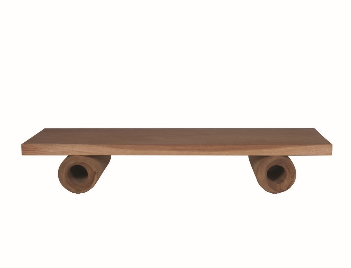 Suar 04C2, Suar wood coffee table with hollow legs