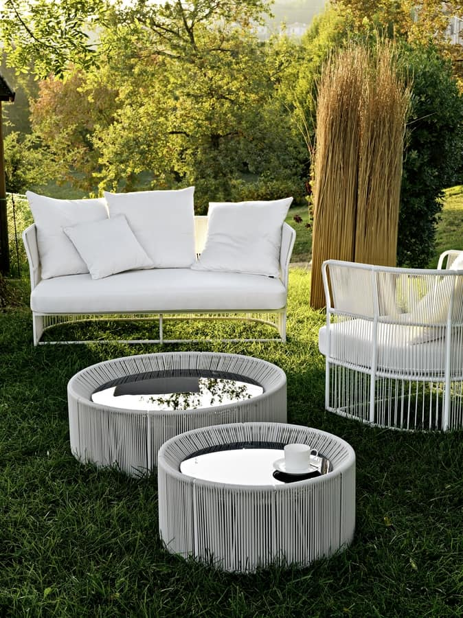 Tibidabo coffee table, Woven outdoor coffee table, with round glass top