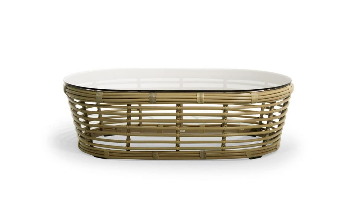 Tonkino coffee table, Woven table, with oval glass top, for outdoors