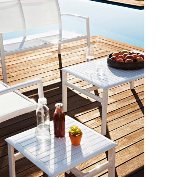 Victor side table 3, Coffee table in painted aluminum, for swimming pools and gardens