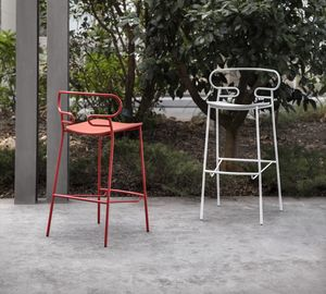 ART. 0049-MET-PU-GENOA STOOL, Metal stool, also for outdoor use