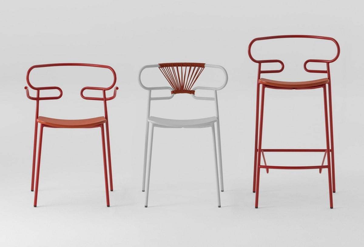 ART. 0049-MET-PU-STOOL GENOA, Metal stool, also for outdoor use