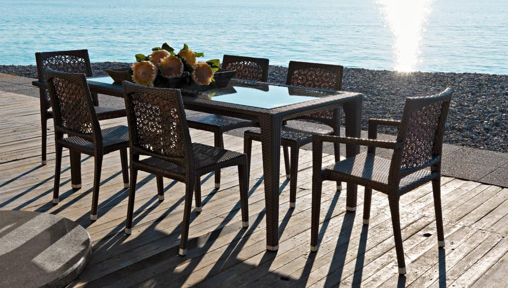 Altea table 2, Woven plastic table, for garden and terrace