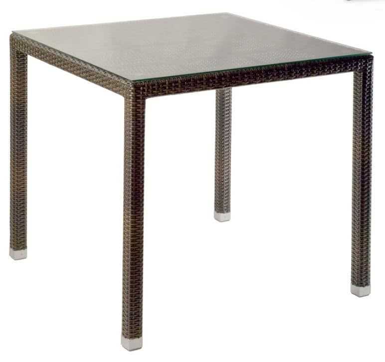 FT 2980, Woven table with glass top, suitable for outdoor