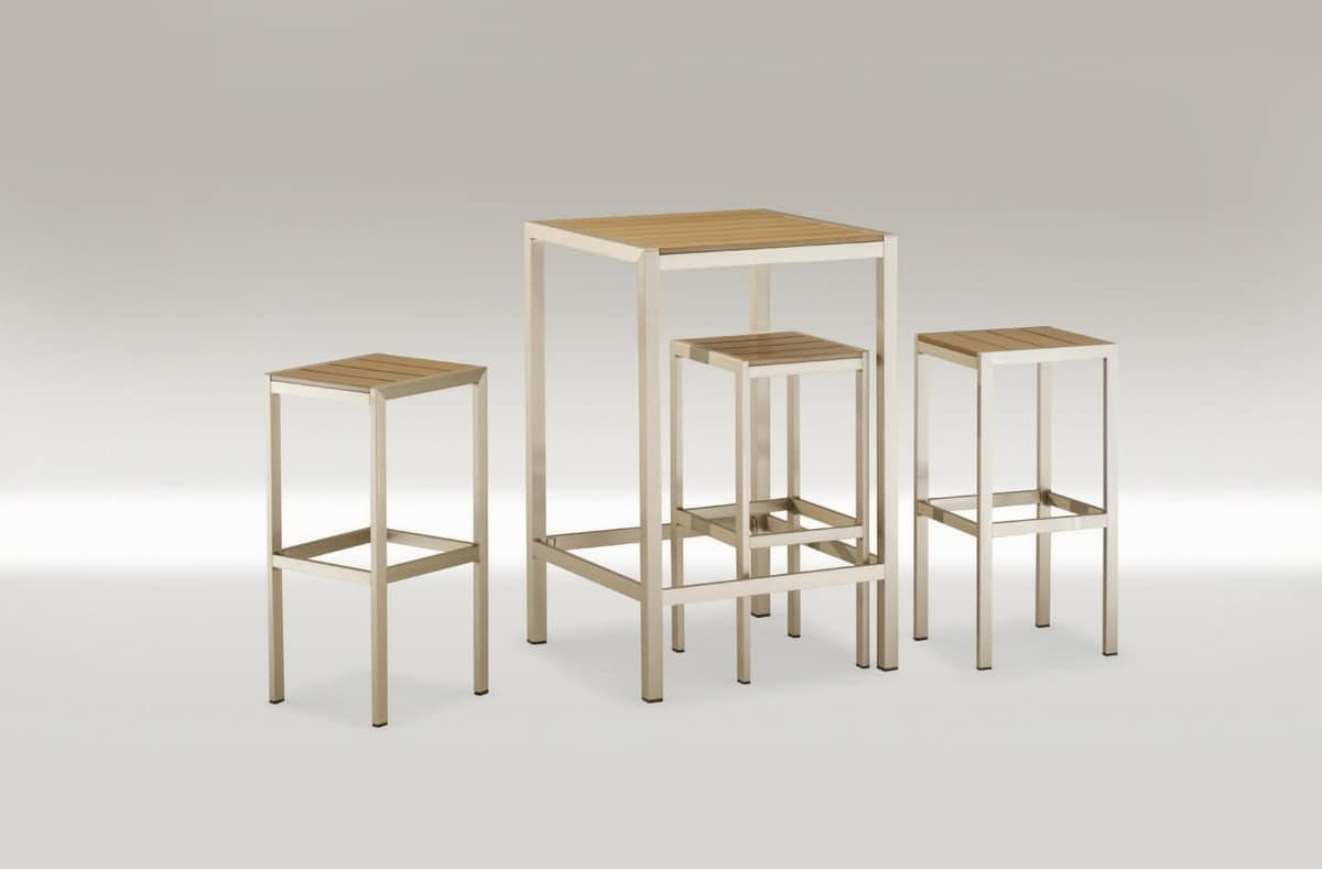 FT 708, Square high table, in aluminum and techno-wood