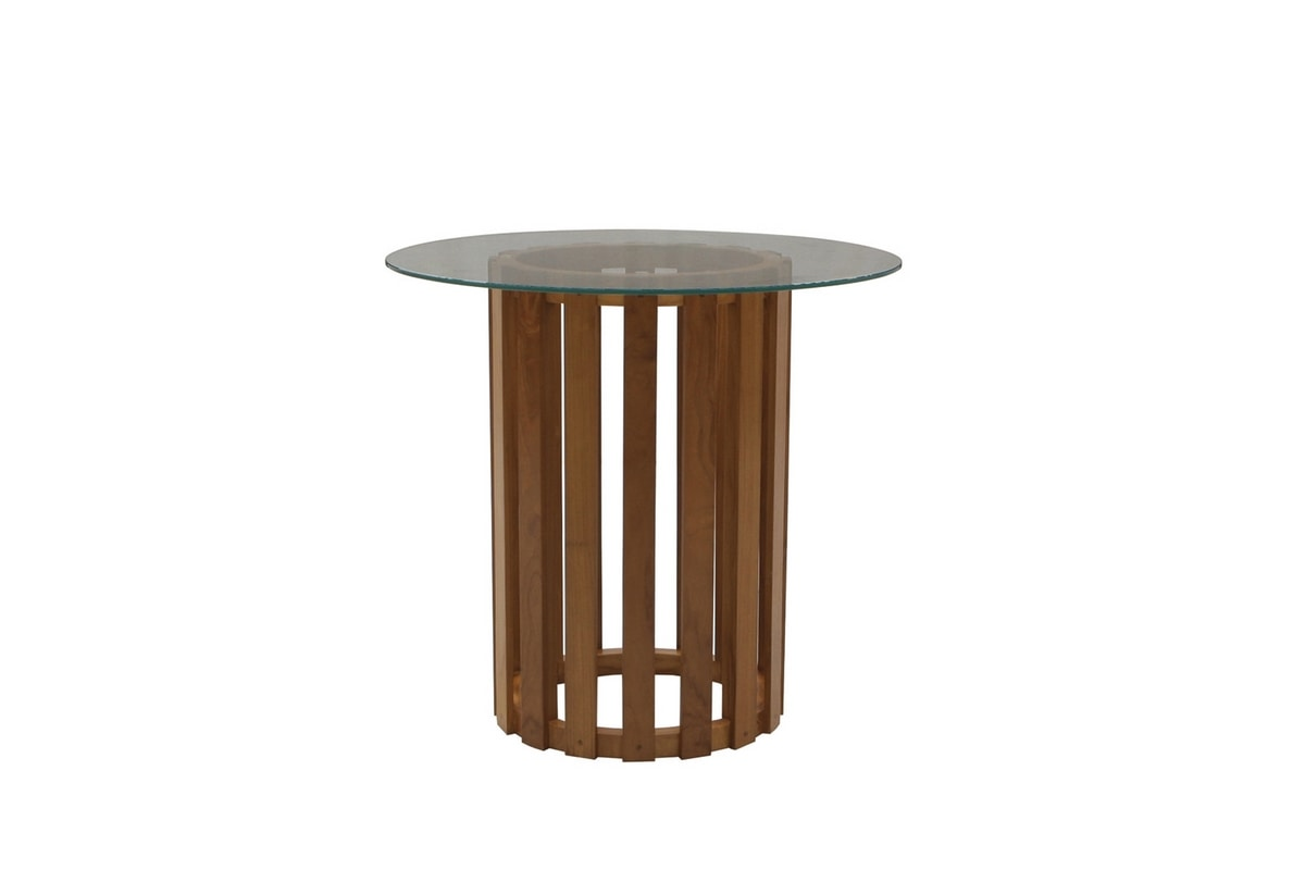 Georgetown 0483, Glass top round single leg dining table