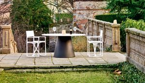 Loulou 70 large, Outdoor table with round top, also in wood