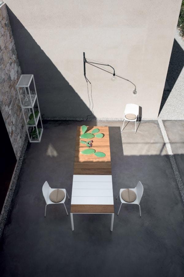 Maki slatted, Outdoor table, with Teak wood slats top