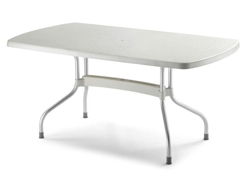 Olimpo rectangular, Garden table in aluminium and polypropylene, reclining top