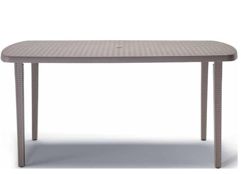 Orazio 2415, Table for garden in polypropylene, 160x90 cm