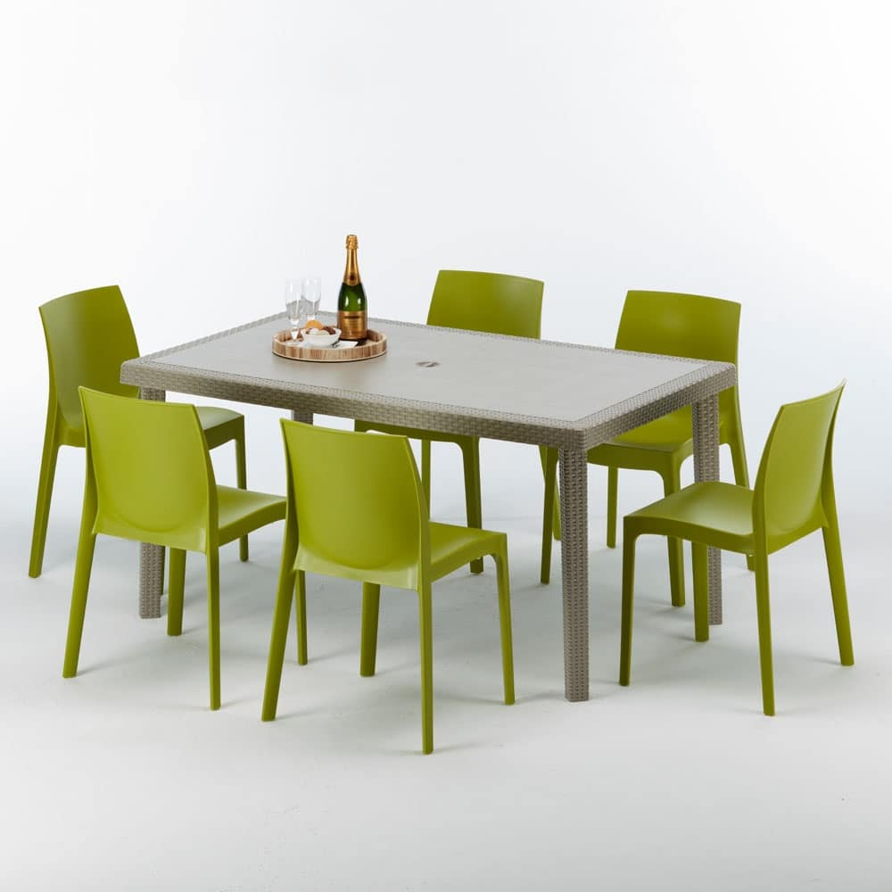 Set Tavolo E Sedie Esterno.Rectangular Table In Rattan Elegant And Durable Idfdesign