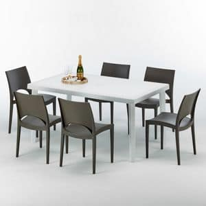 Set made in Italy outside table garden - S7050SETB6, Rectangular table in synthetic rattan, for outside