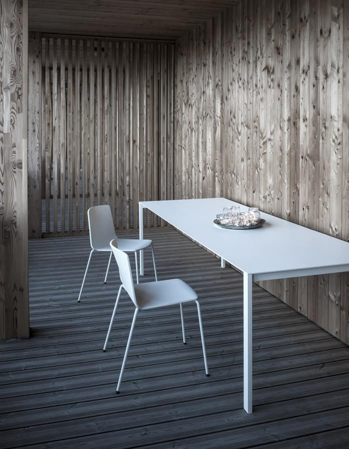 Thin-k Longo Outdoor, Design table with extensive and thin top, for outside
