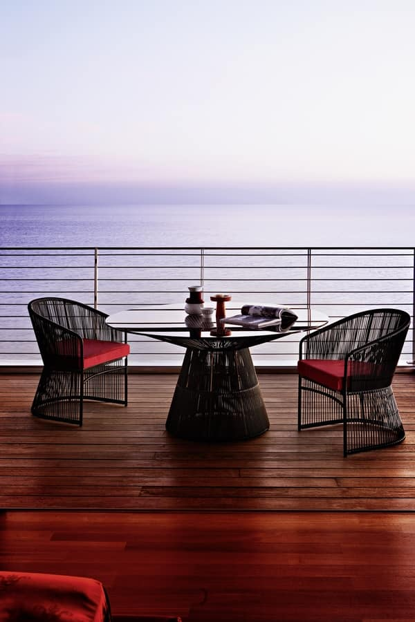 Tibidabo table, Round table in steel, with glass top, for outdoors