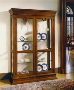 Bibbiena ME.0127, 15th-century-style Florentine showcase with two doors and four glass shelves