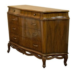 Bellini RA.0724, Shaped walnut chest of drawers with four drawers