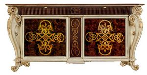 Incomparable LU.0002, Inlaid sideboard with two doors, two drawers and a trolley
