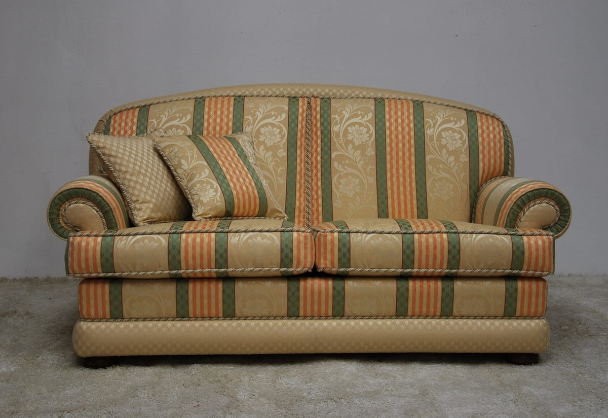 Toledo sofa, Classic sofa with striped fabric