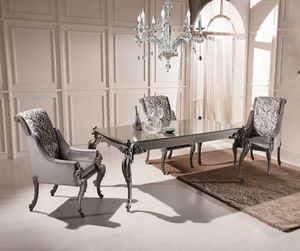 Extendable rectangular table and armchairs, Dining table and armchairs, outlet price