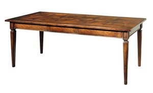 Certaldo ME.0932, 18th-century-style rectangular walnut table with fixed top decorated with three antique panels