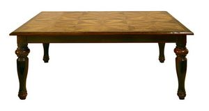 Cortona ME.0891.6.T, Walnut table with six antique panels and turned legs