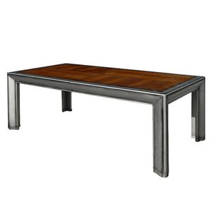 Glenbow CH.0102-0, Rectangular extendible walnut table with shaped legs