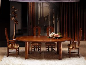 TA28 Zebrano, Oval table with wooden top