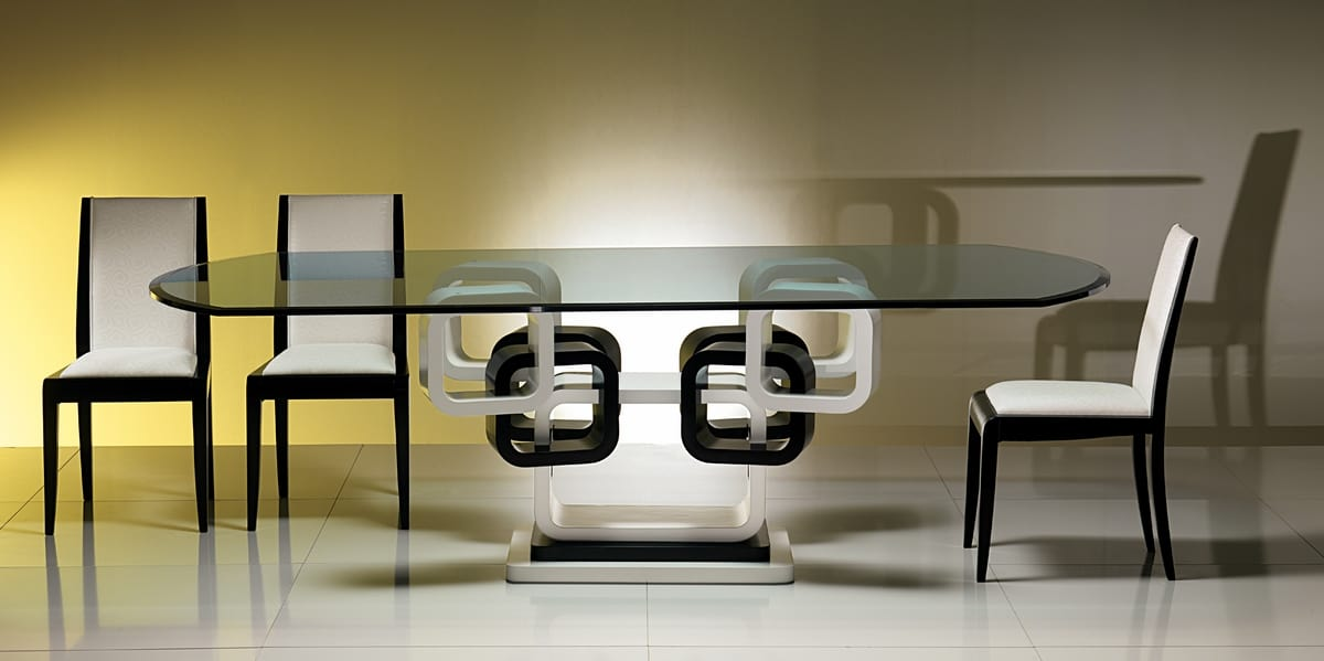 TA39K table, Ring table lacquered black and white
