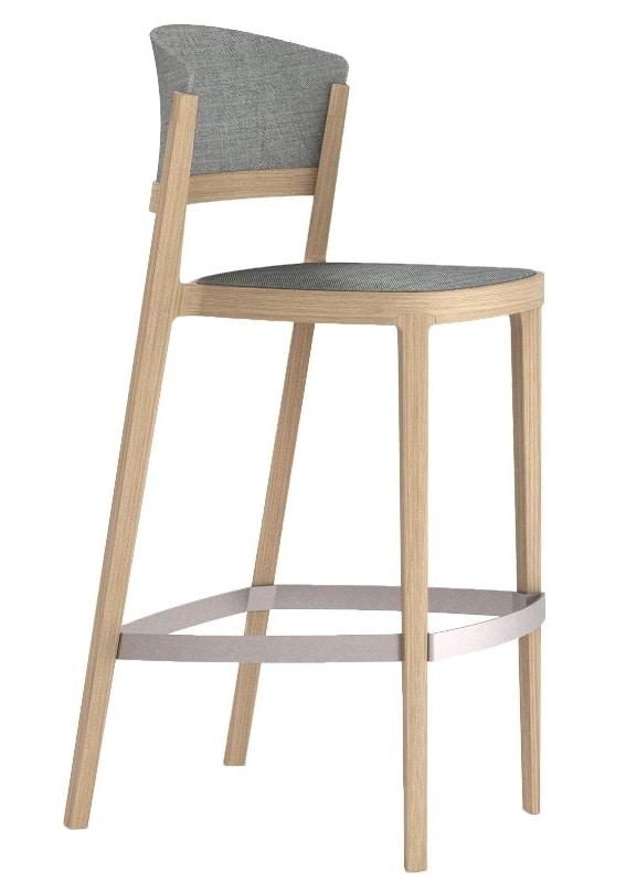 Abuela Stool Wood, Upholstered stool, in beech wood