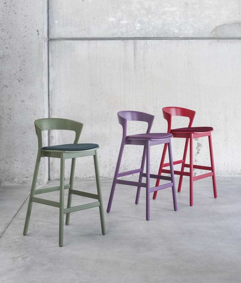 ART. 0075-IMB EDITH, Stool with lacquered structure