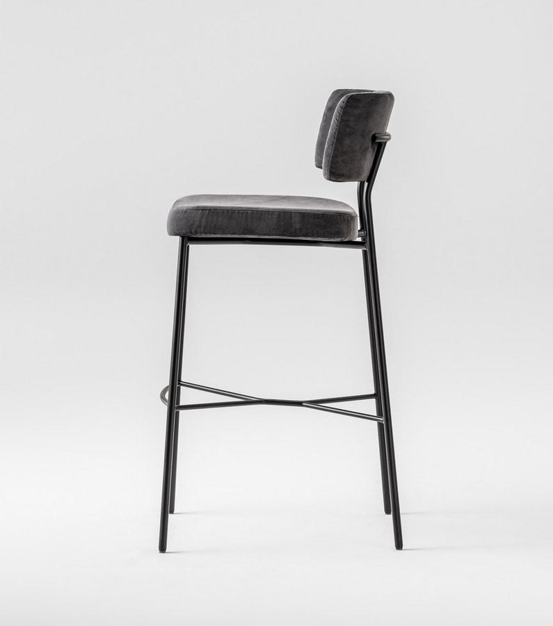 ART. 0163-MET-IM STOOL MARLEN, Padded stool with metal frame