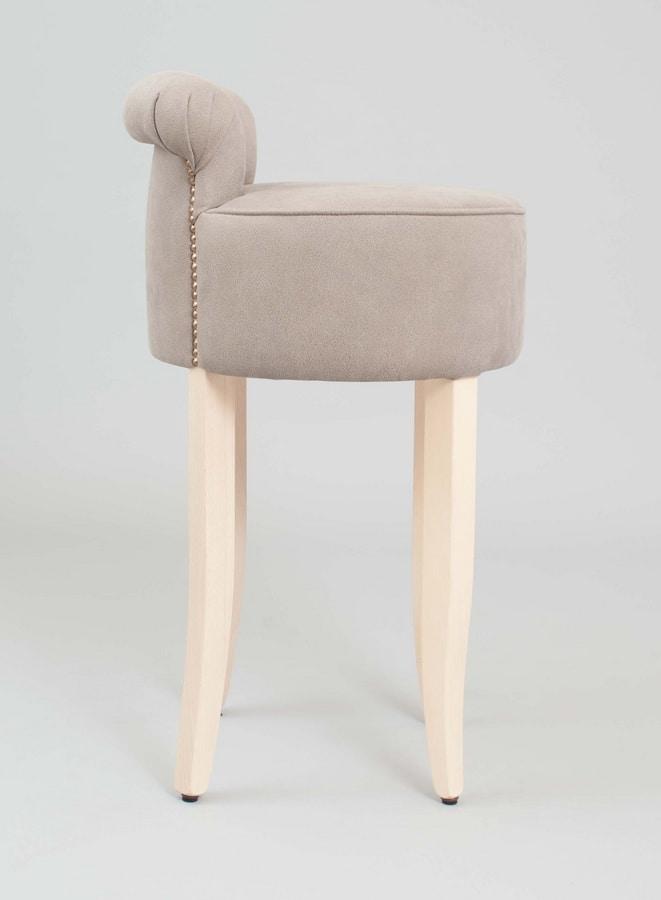 BS460B - Stool, Stool upholstered in beech