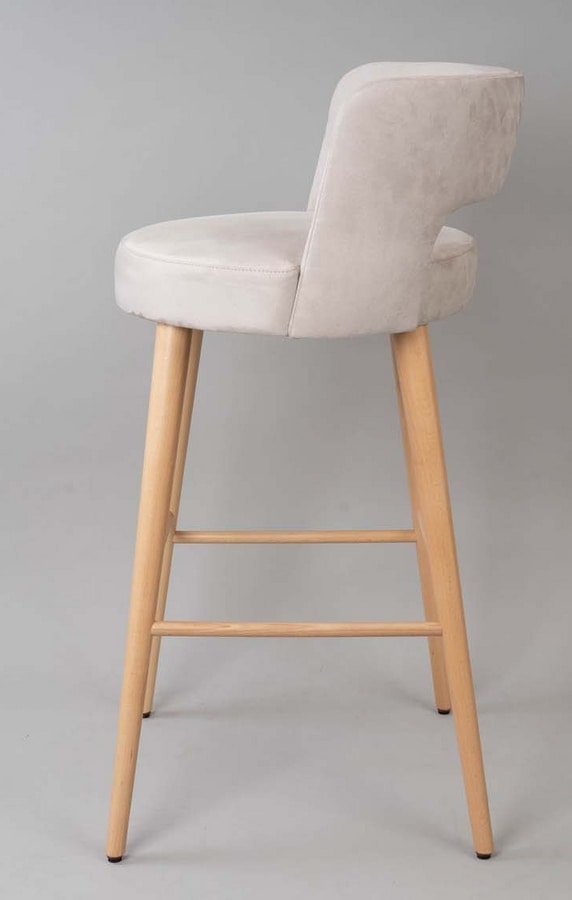 BS469B - Stool, Upholstered stool with upholstered back