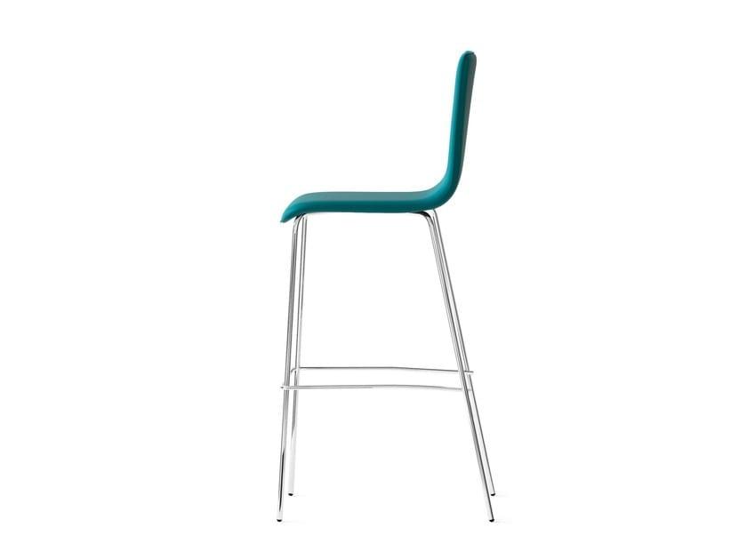 CARPET, Stool with upholstered shell, frame 4 legs chrome