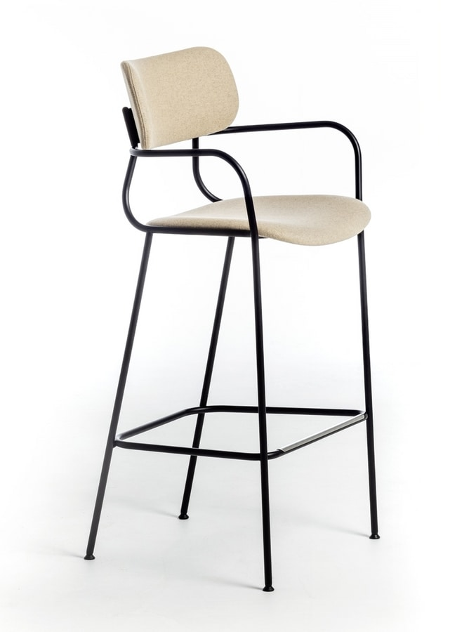 Kyumi Fabric ST, Metal stool with armrests