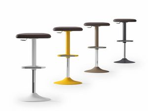 UPPER, Padded stool, in steel, varnished in various colors