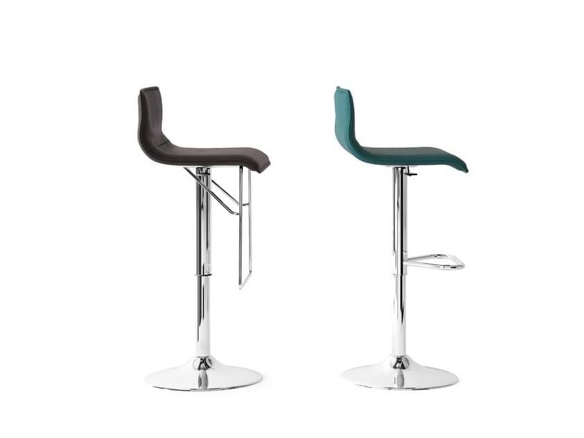UPPER, Padded stool, in steel, adjustable in height