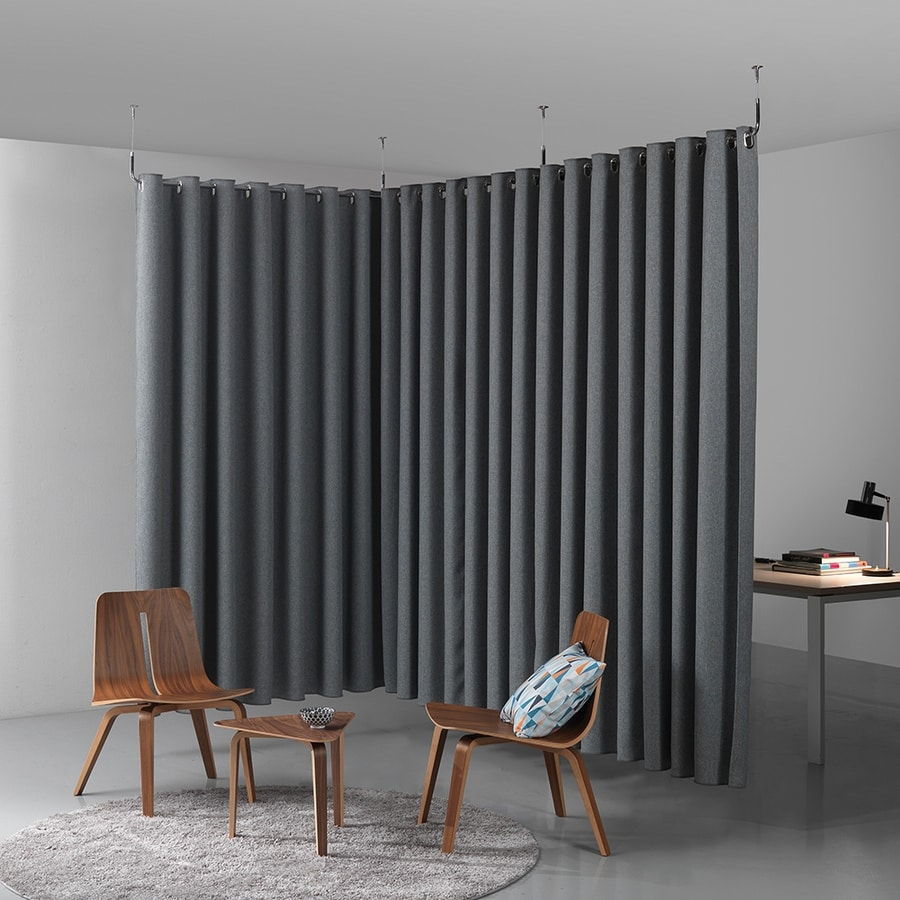Clasp divider, Partition system in sound-absorbing fabric